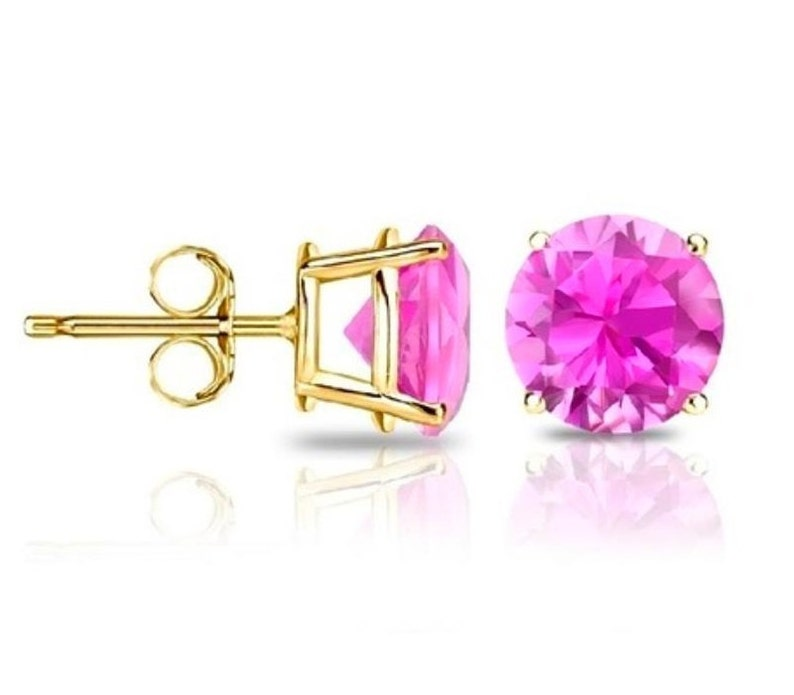 14Kt Yellow Gold Pink Sapphire Round Stud Earrings Dainty Gift For Her Bridesmaid Bridal Wedding Jewelry