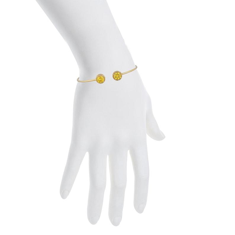 14Kt Gold Yellow Citrine /& Diamond Round Bangle Bracelet Bridesmaid Bridal Wedding Dainty Fashion Jewelry