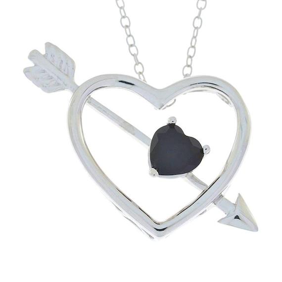 1.5 Ct Garnet Heart Design Pendant .925 Sterling Silver