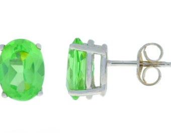 White Gold Green Sapphire Oval Stud Earrings .925 Sterling Silver Rhodium Finish