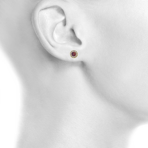 2 Ct Ecstasy Mystic Topaz /& Diamond Round Stud Earrings White Gold Silver