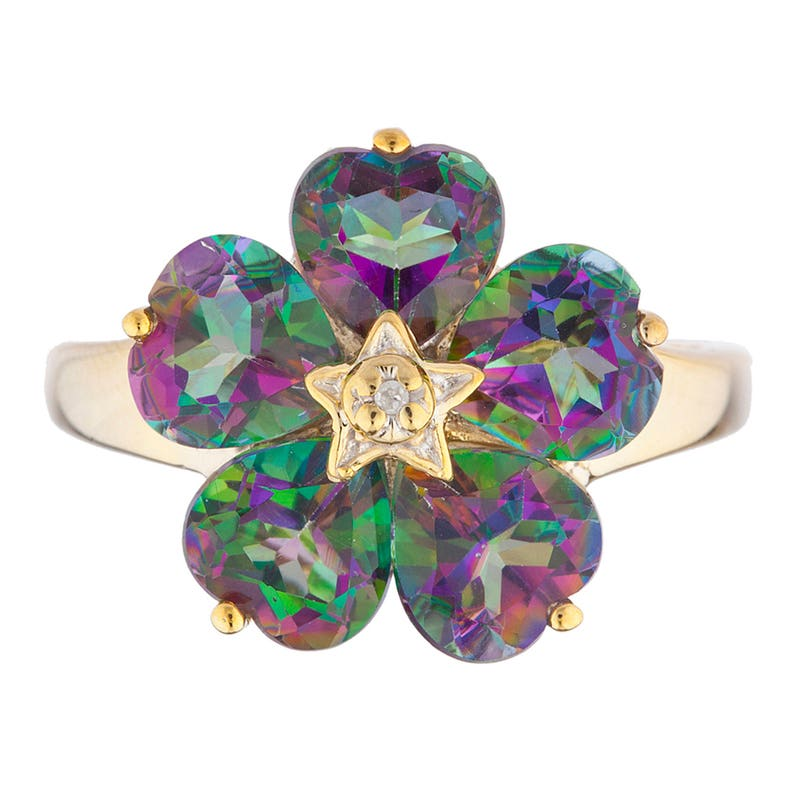 14Kt Yellow Gold Plated 5 Hearts Natural Mystic Topaz /& Diamond Heart Flower Design Ring  Gift For Her Jewelry Fashion Trend