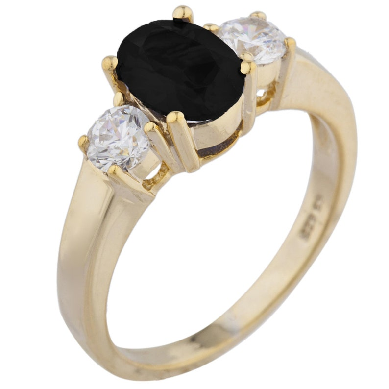 14Kt Gold 2 Ct Genuine Black Onyx /& Zirconia Oval Round Ring