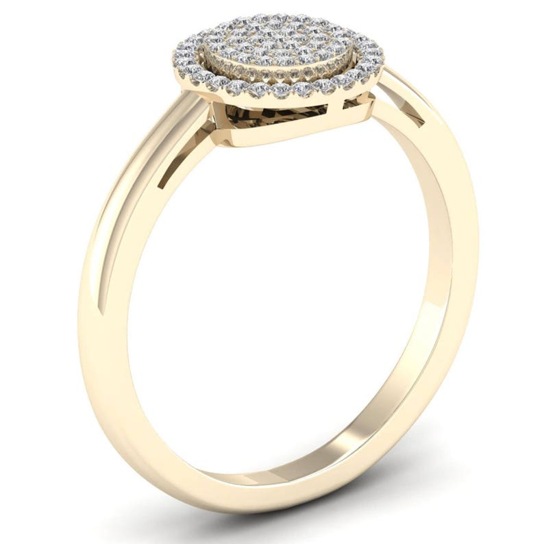 10Kt Yellow Gold 0.15 Ct Genuine Natural Diamond Engagement Halo Ring