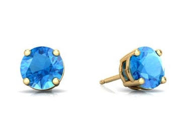 14Kt Yellow Gold Blue Topaz Round Stud Earrings