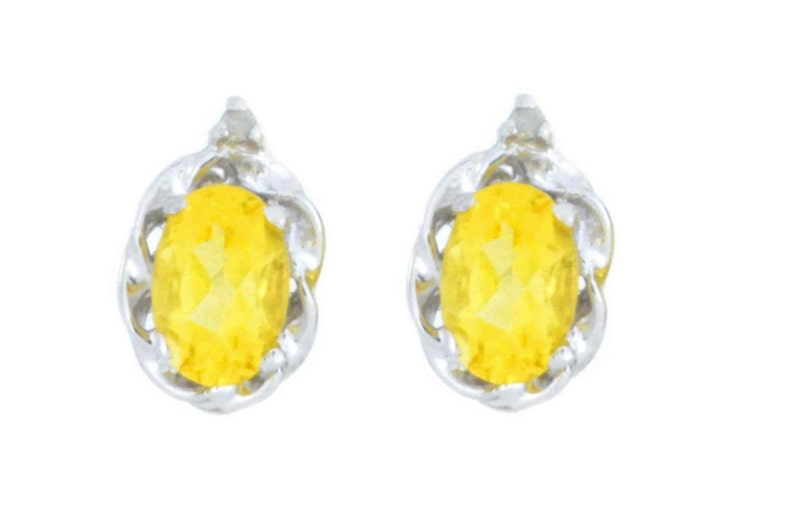 White Gold 1 Ct Citrine /& Diamond Oval Stud Earrings .925 Sterling Silver Dainty Gift For Her Bridesmaid Bridal Wedding Jewelry