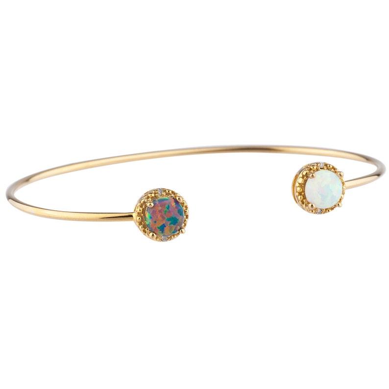 14Kt Yellow Gold Plated Black /& White Opal Diamond Bangle Round Bracelet Bridesmaid Bridal Wedding Jewelry Dainty Fashion