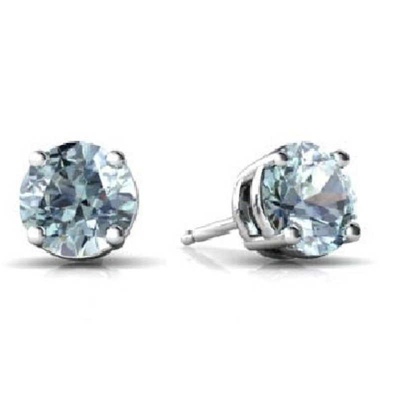 14Kt White Gold Natural Aquamarine Round Stud Earrings Dainty Gift For Her Bridesmaid Bridal Wedding Jewelry