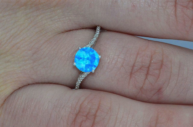 e14f22ad31da2 Blue Opal & Diamond Round Ring .925 Sterling Silver Dainty Gift For Her  Jewelry Fashion Trend