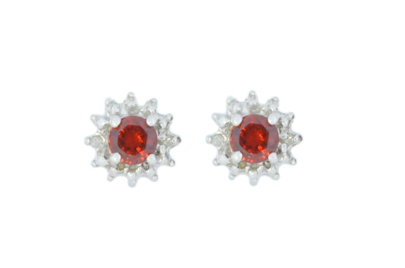 45e118ed8 White Gold 0.50 Ct Garnet & Diamond Stud Earrings .925 | Etsy