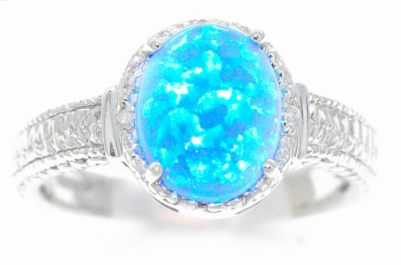4733670e85686 Blue Opal & Diamond Oval Ring .925 Sterling Silver Dainty Gift For Her  Jewelry Fashion Trend