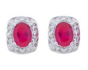 White Gold 3 Ct Ruby Oval Stud Earrings .925 Sterling Silver