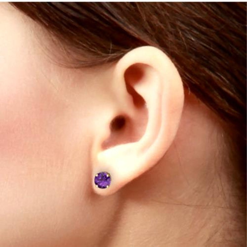 14Kt Yellow Gold Alexandrite Round Stud Earrings Dainty Gift For Her Bridesmaid Bridal Wedding Jewelry