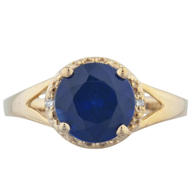 14Kt Gold 2 Ct Blue Sapphire /& Diamond Halo Design Round Ring