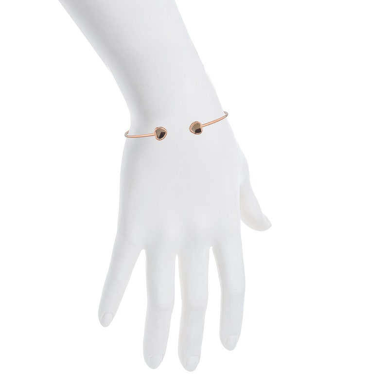 14Kt Yellow Gold Rose Gold Silver Genuine Smoky Topaz Heart Bezel Bangle Bracelet Bridesmaid Bridal Wedding Jewelry Dainty Fashion