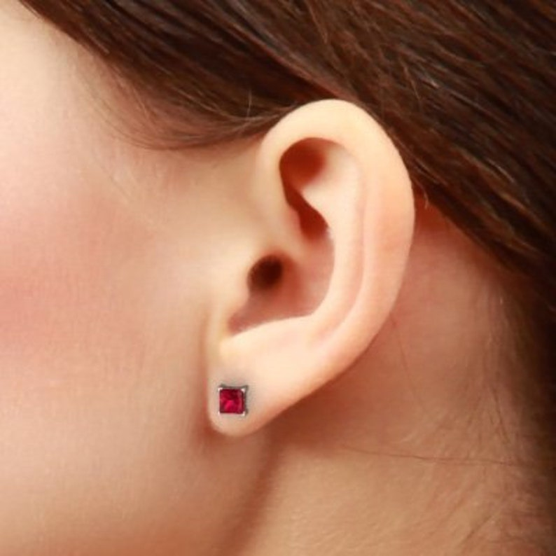 White Gold 2 Carat Ruby Princess Cut Stud Earrings .925 Sterling Silver Dainty Gift For Her Bridesmaid Bridal Wedding Jewelry