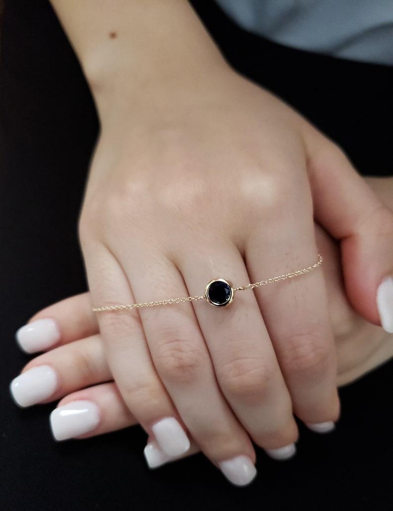 Sapphire Bezel Bracelet 14Kt Gold Blue Sapphire Bracelet September Birthstone Bracelet Sapphire Dainty Bracelet SHIPS NEXT DAY