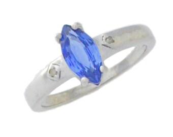 1 Ct Tanzanite & Diamond Marquise Ring .925 Sterling Silver Rhodium Finish