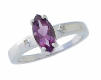 1 Ct Alexandrite & Diamond Marquise Ring .925 Sterling Silver Rhodium Finish