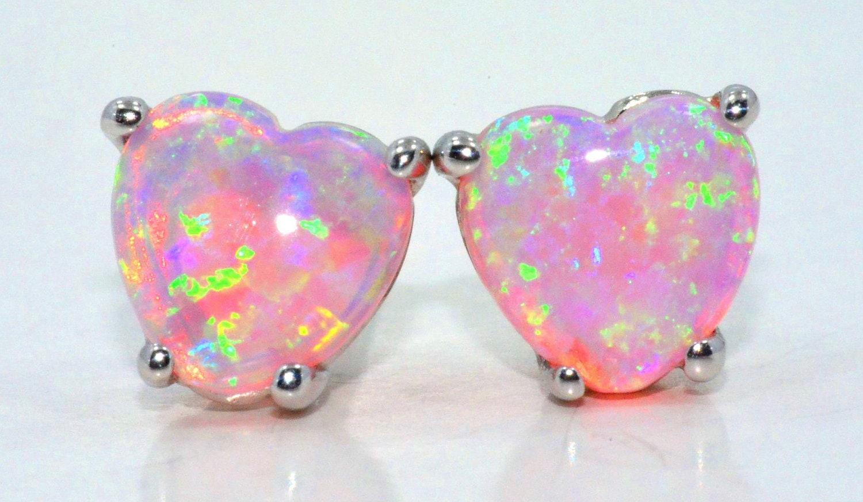 White Gold Pink Opal Heart Stud Earrings .925 Sterling Silver | Etsy