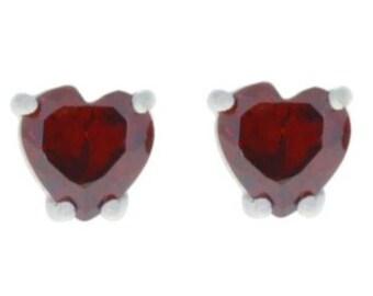 White Gold 2 Ct Garnet Heart Stud Earrings Sterling Silver