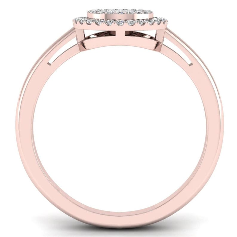 10Kt Rose Gold 0.15 Ct Genuine Natural Diamond Engagement Halo Ring