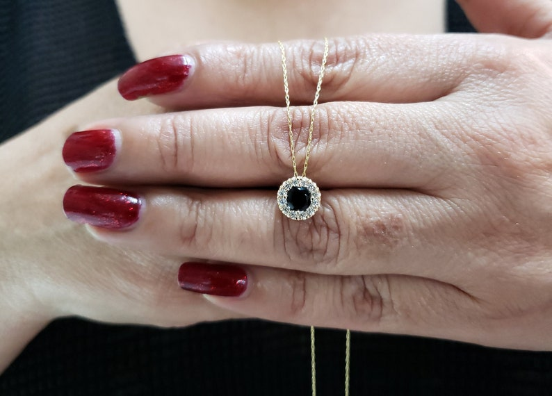 14Kt Gold 0.50 Ct Genuine Black Onyx Halo Design Pendant Necklace Gift For Her Dainty Bridesmaid Bridal Wedding Jewelry
