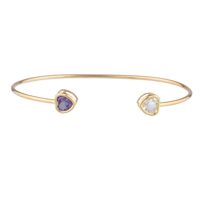 14Kt Yellow Gold Plated Genuine Aquamarine /& Amethyst Heart Bezel Bangle Bracelet Bridesmaid Bridal Wedding Jewelry Dainty Fashion