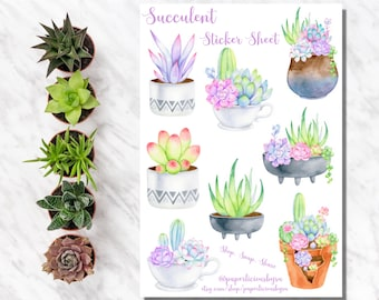 Succulent Sticker Sheet, Plant stickers, Cactus, Potted Plants, Planner Stickers, Bullet Journal, Bujo, Scrapbooking, Journaling, Craft