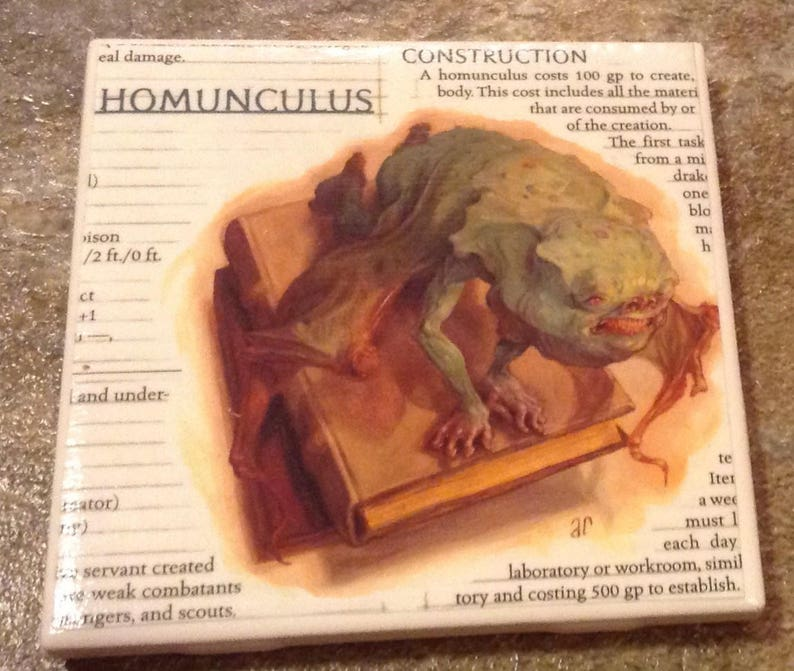 Up-cycled Homunculus coaster from Dungeons and Dragons Monster Manual