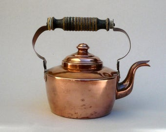 Copper Kettle, Tearoom Decor , Vintage Copper Teapot,Rustic  Copper  Teapot