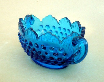 Turquoise Hobnail Glass , Hobnail Bowl With Handles , Teal Hobnail Bowl , Oval Teal Bowl , Blue Hobnail Glass , CostaSul