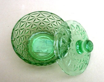 Pressed Glass Box , Green Cut Glass Box, Powder Jar, Bonbonier, , Dressing table Decor