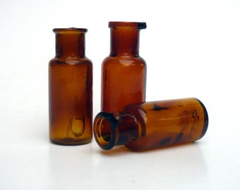 Vintage Medicine  Bottles , Tiny Glass Bottles ,Amber Glass Trio , Pharmacy Bottles