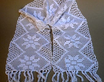 WhiteTable Runner , Crochet Runner , Flower Motif Crochet , Narrow Runner, Home And Living
