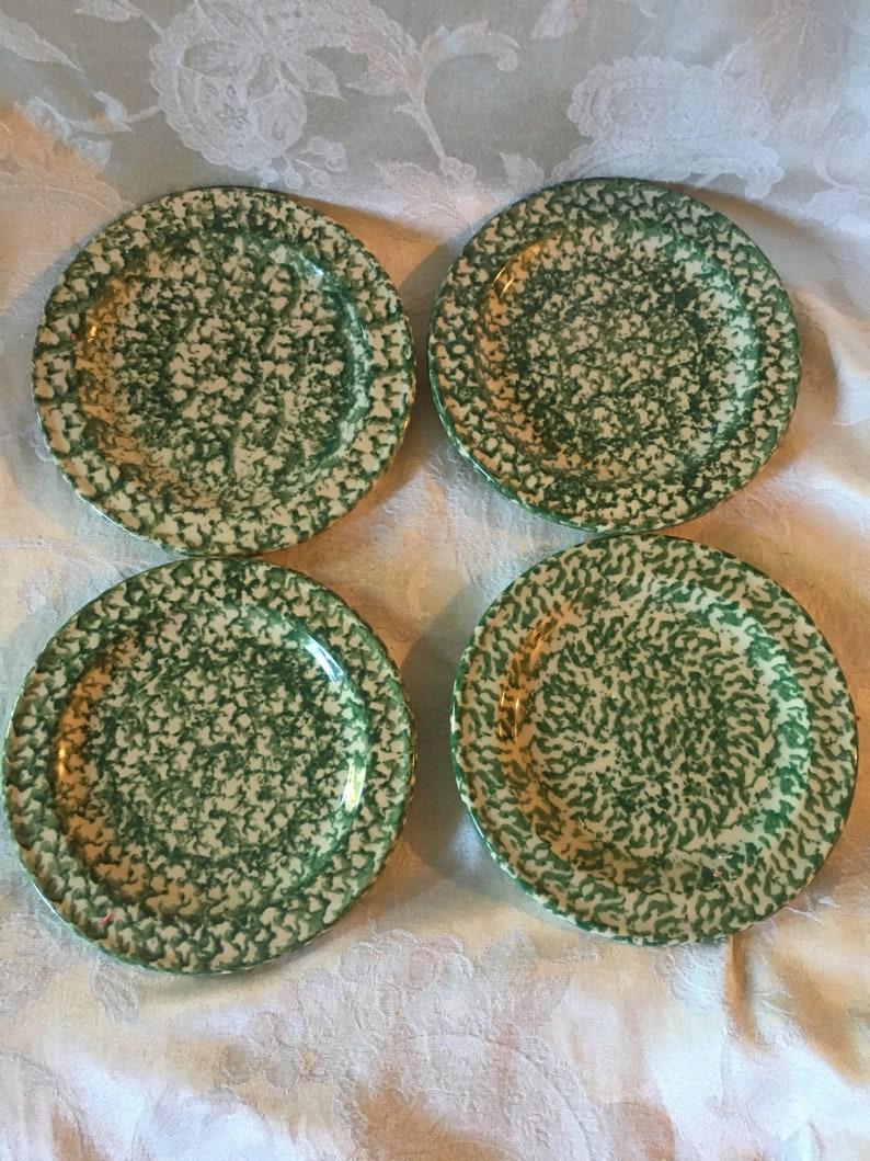 Set of 4 Roseville Green Spongeware Salad Plates