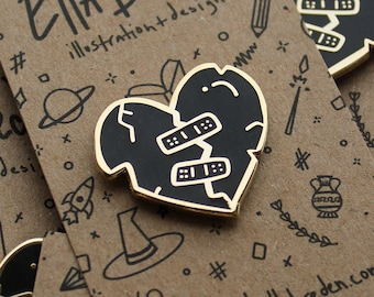 Broken Heart Enamel Pin   Holding yourself together enamel pin