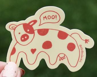 Cute Pink Cow Sticker   Strawberry Milk Cow   Laptop stickers   Waterproof   Vinyl Stickers   Hydroflask Stickers