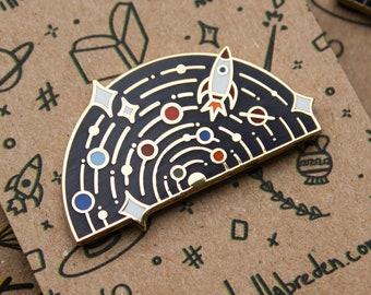 Space Explorer Enamel Pin   Solar System Hard Enamel Lapel Pin