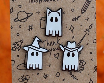 Mini Ghost Pins   Glow-in-the-Dark Pins   Halloween Costume Pins   Cowboy Ghost, Cat Ghost, Witch Hat