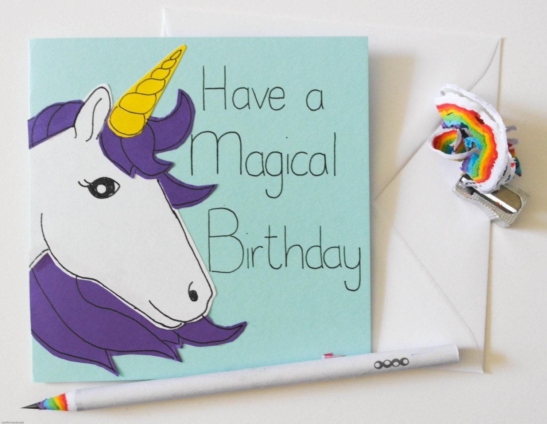 handmade unicorn birthday card magical birthday card kids