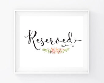 Instant Download Reserved Sign 8x10 Print Ready Etsy