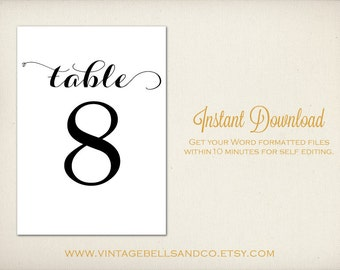 5x7 diy printable table numbers template diy etsy