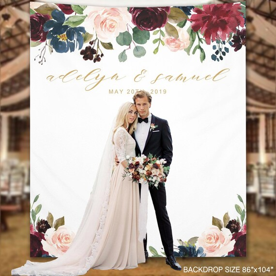 Wedding Backdrop Elegant Floral Custom Wedding Backdrop Etsy