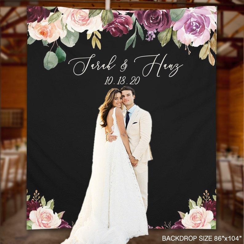 SALE 20% Wedding Backdrop Plum Blush Floral Wedding   Etsy