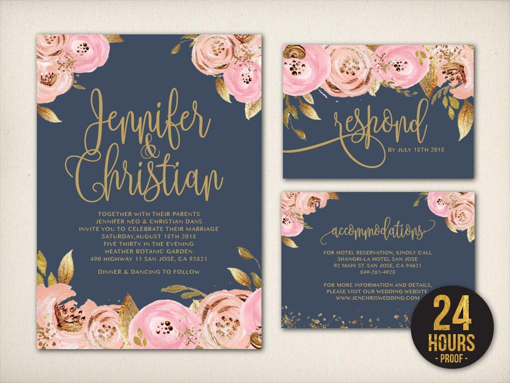 Navy And Gold Wedding Invitations: Wedding Invitation Navy Blush Gold Invitation Blush Gold