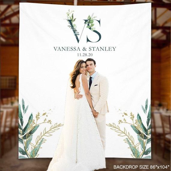 Wedding Backdrop Monogram Greenery Wedding Banner | Etsy