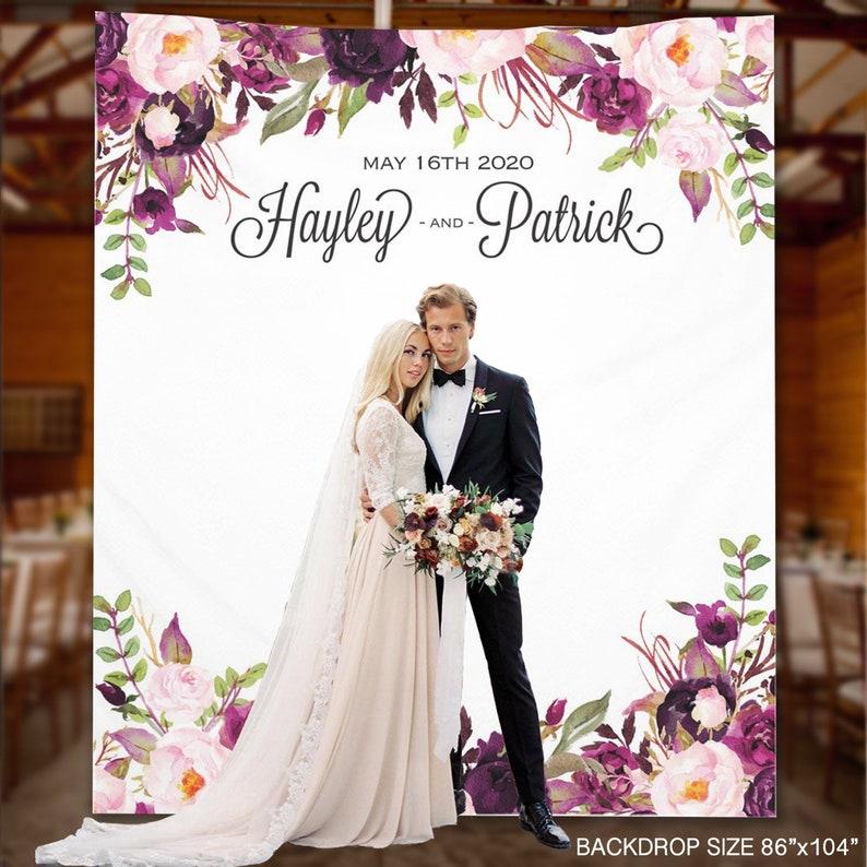 SALE 20% Wedding Backdrop Purple Floral Custom Wedding   Etsy