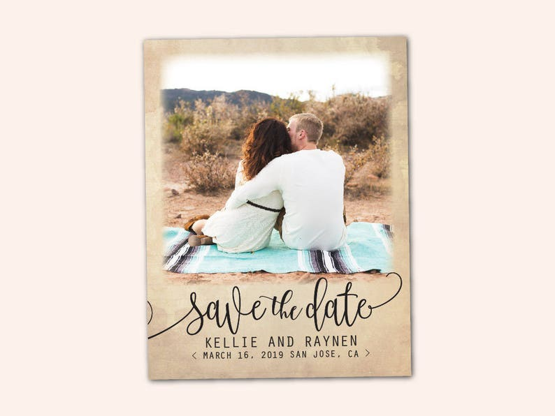 Rustic Script Magnet Save The Date Magnet STDM18 Elegant Save The Date Magnet 4.25 x 5.5 Photo Magnets Wedding Save The Date