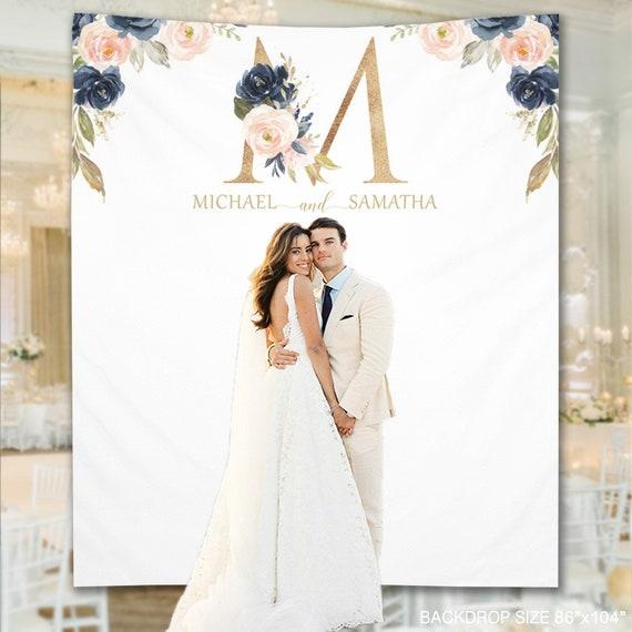Wedding Backdrop Whimsical Navy Blush Wedding Backdrop Photo | Etsy